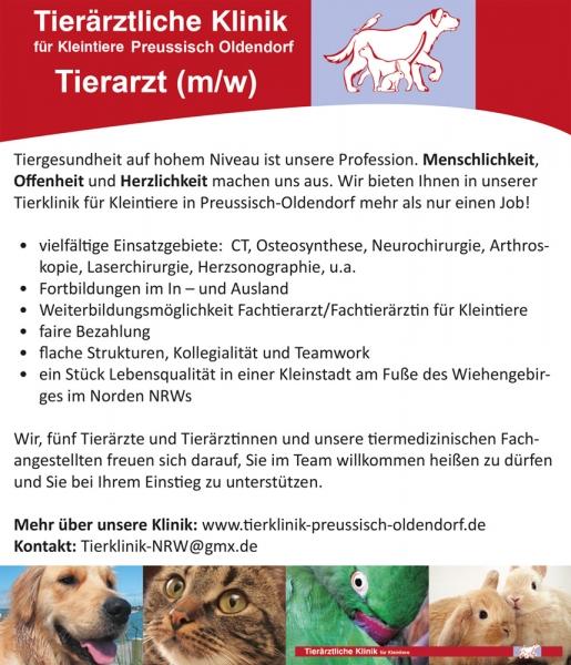 stellenanzeige tierklinik preußisch oldendorf